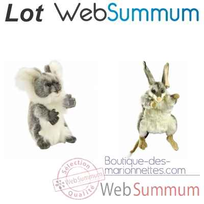 Lot 2 marionnettes a main peluches animalieres realistes Koala et Bilby -LWS-510