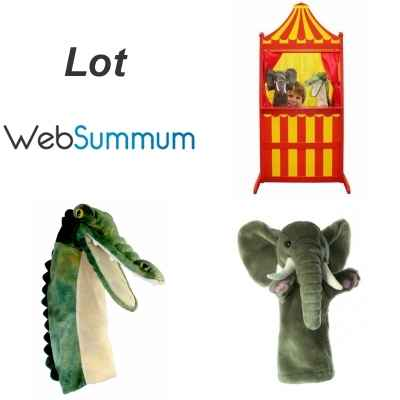 Lot theatre et marionnette a main gant elephant et crocodile -LWS-385