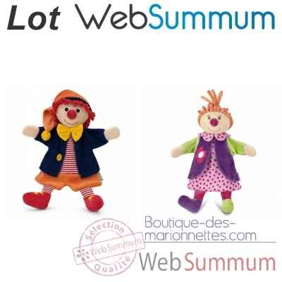 Monsieur et Madame Clown, marionnette a main -LWS-318